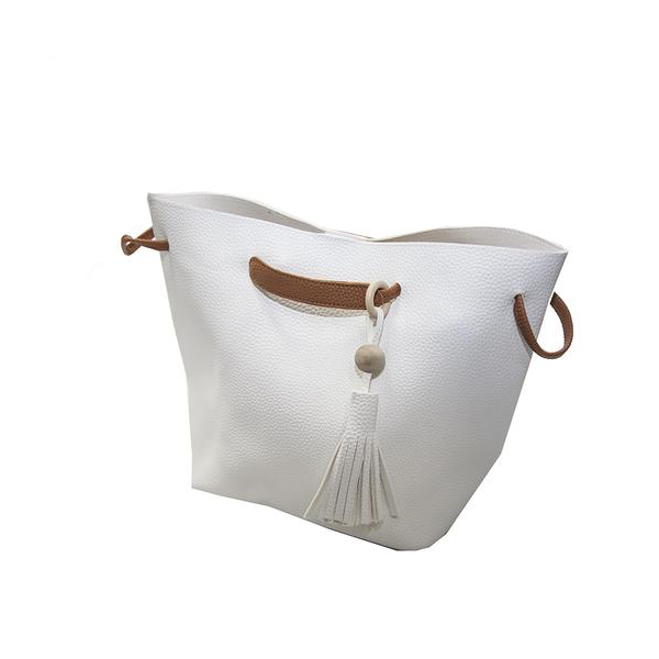White Handbag with Brown Trimmings