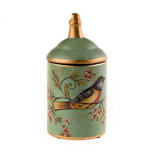Ceramic Hand Painted Bird Jar