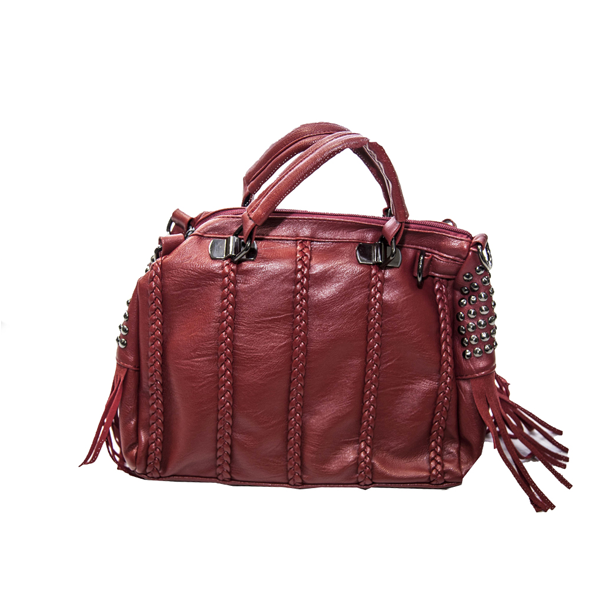 Red Studden Handbag with Side Weave