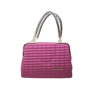 Pink Handbag with Black and Gold Weave Handles