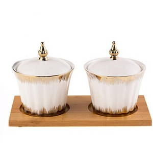 Ceramic Sugar Bowls - Round Gold Edge (2Pcs/Set)