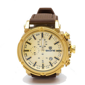 Gold Chronograph Watch with Brown Rubber Strap