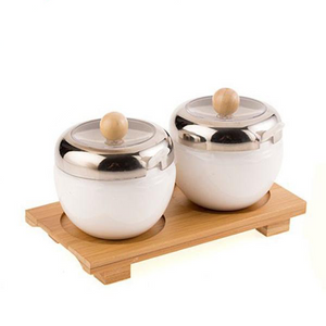 Ceramic Sugar Bowls - Round Silver Edge (2Pcs/Set)