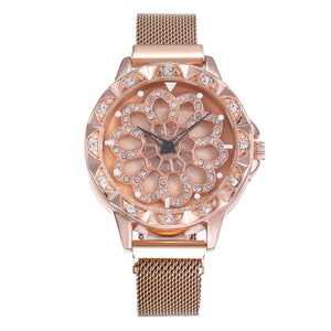 Women's Luxury Rose Gold Watch - 360 Degrees Rotation Diamond Dial