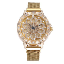 Load image into Gallery viewer, Women's Luxury Rose Gold Watch - 360 Degrees Rotation Diamond Dial