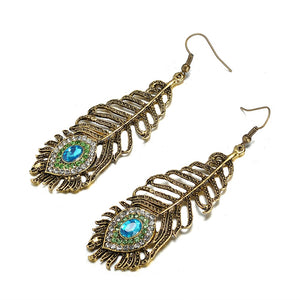 Ethnic Blue Rhinestone Peacock Eye Drop Earrings