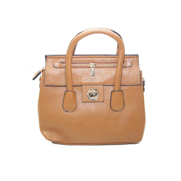 Tan Handbag with Black Edging and Side Zip