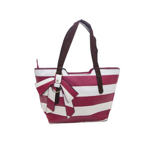Casual Stripped Handbag with Leatherette Straps