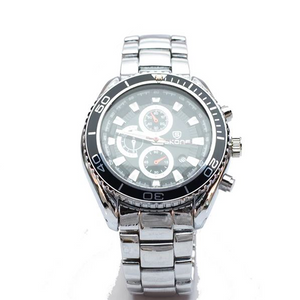 Silver Chronograph Watch with Black Face and Silver Bezel