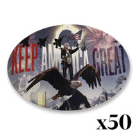 "Donald Trump ""Keep America Great"" Oval Sticker *PACK OF 50*"
