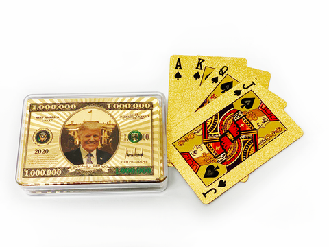 1MIL Keep America Great Trump Gold Playing Cards With Plastic Case