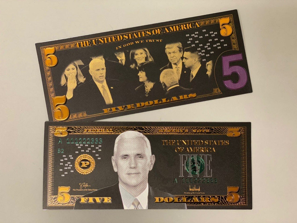 Mike Pence $5 Black & Gold Banknote