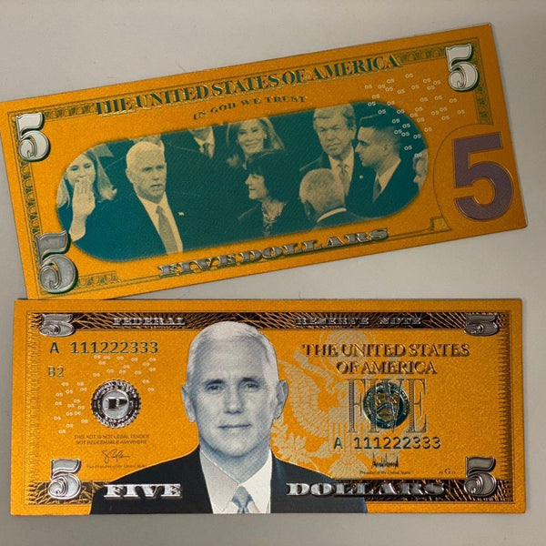 Mike Pence $5 Gold Banknote