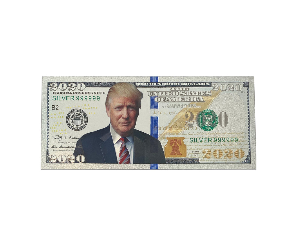 Donald Trump Authentic Silver Plated Commemorative 2020 Bank Note