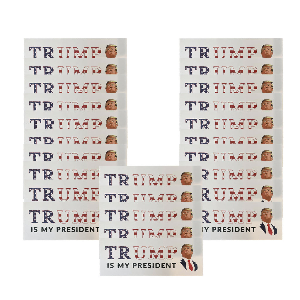"""Trump Is My President"" Mosaic American Flag Sticker *25 PACK*"