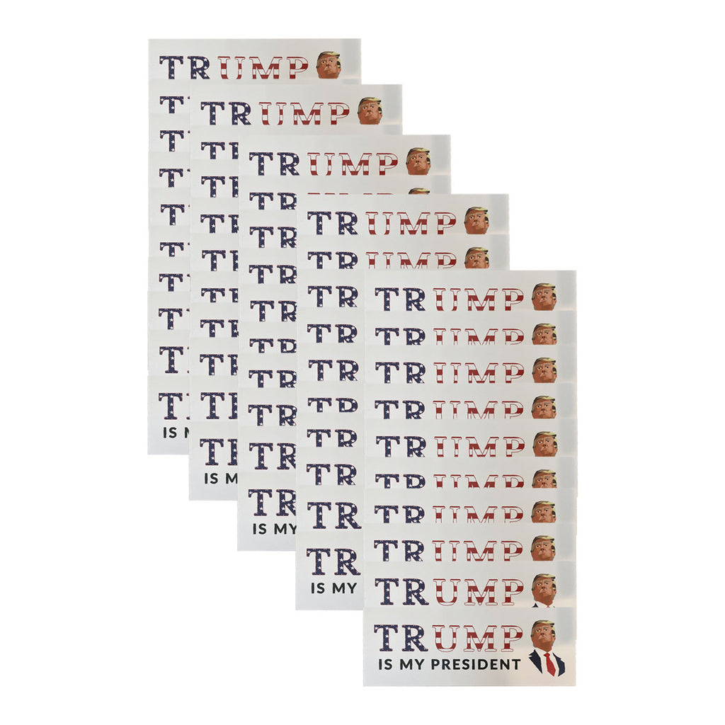 """Trump Is My President"" Mosaic American Flag Sticker *50 PACK*"