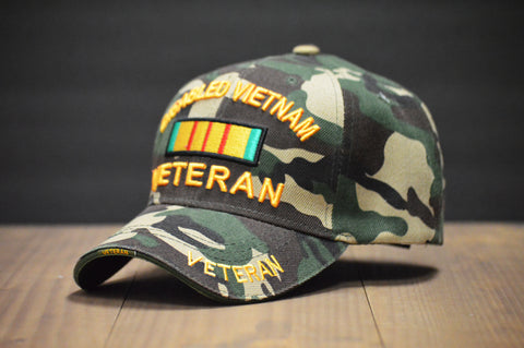 Disabled Vietnam Veteran Green Camouflage Hat