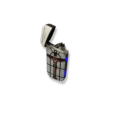 Jesus Cross Stained Glass Windproof Electric Rechargeable Lighter
