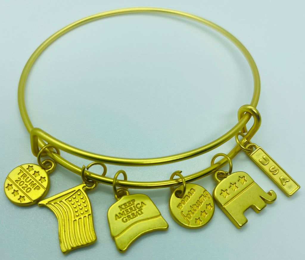 Gold Plated Trump 2020 SIX Charm Bracelet