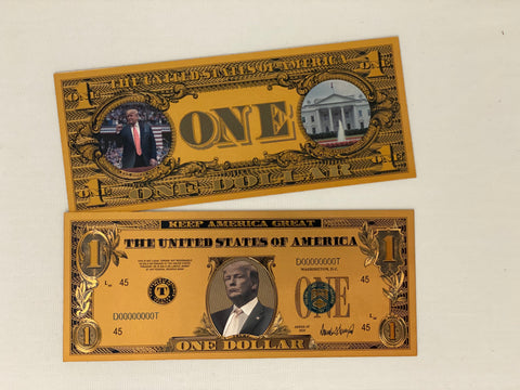 Donald Trump $1 Keep America Great Gold Bank Note