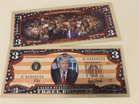 Vote For Trump 2020 Keep America Great Again $3 Bank Note