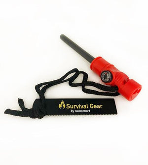 3-in-1 RED Survival Multifunction Tool Kit - Magnesium Fire Starter Rod, Magnetic Compass & Emergency Whistle
