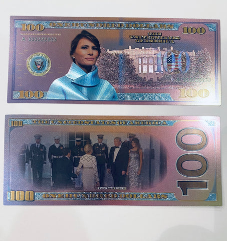 Melania Trump Novelty $100 Metallic Silver Bill