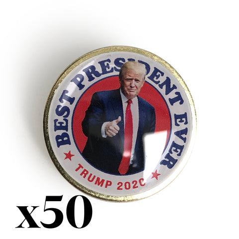 Best President Ever Trump 2020 Pin 50 Pack
