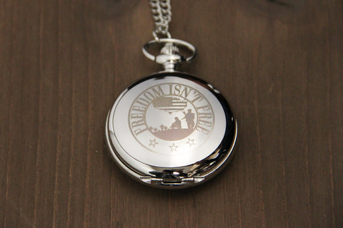 Silver Freedom Isn't Free Remembrance Pocket Watch