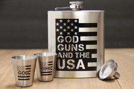 GOD, GUNS & the USA Stainless Flask Set