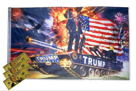 Frontlines of Freedom Flag & 3 Donald Trump 24kt Gold $100 Bill Pack
