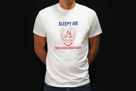 "Sleepy Joe ""Make China Great Again"" MEN & WOMEN White T-shirt"