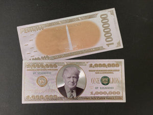 Donald Trump $1MIL White Gold  Bank Note