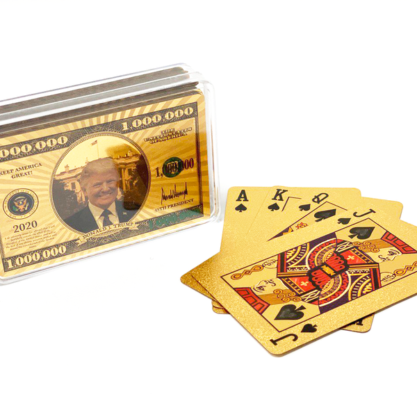 1MIL Donald Trump Gold Playing Cards With Plastic Case