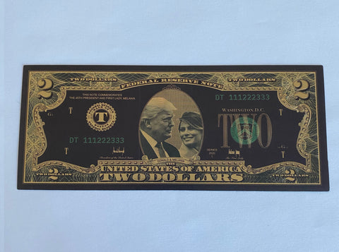 Donald & Melania Trump Black & Gold Plated $2 Bill