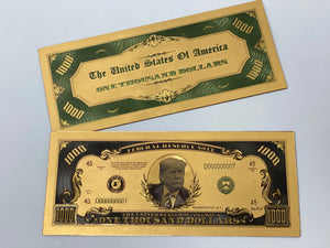 Gold Plated Trump $1000 Bill *BLACK FRIDAY SALE*
