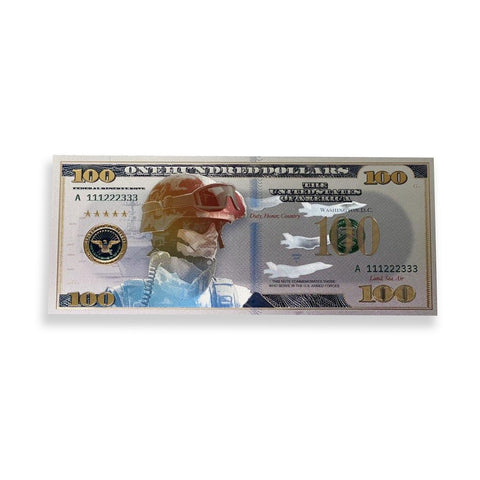 $100 Support Our Troops White Gold Banknote