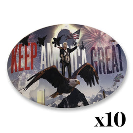 "Donald Trump ""Keep America Great"" Oval Sticker *PACK OF 10*"