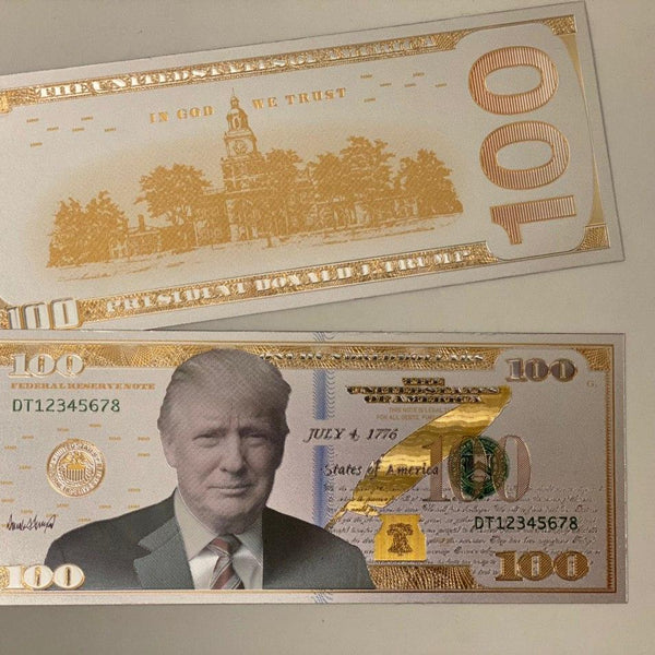 Donald Trump Authentic White Gold Plated Commemorative $100 Bank Note (FREE W ANY PURCHASE)