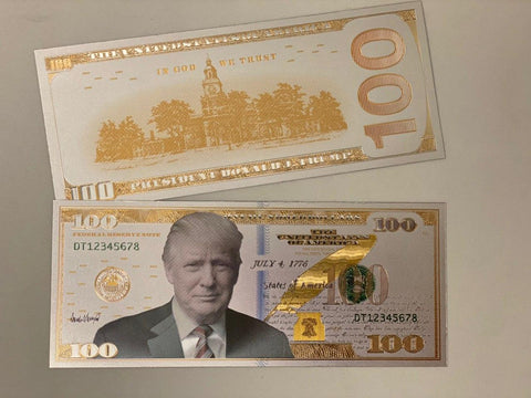 Donald Trump Authentic White Gold Plated Commemorative $100 Bank Note