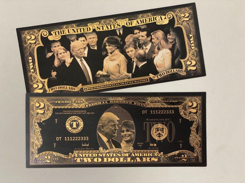 Donald & Melania Trump Black & Gold Plated $2 Bill  (NEW DESIGN)