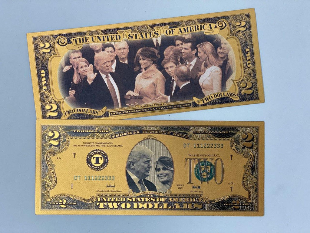 Trump & Melania Gold Plated $2 Bill (NEW DESIGN)