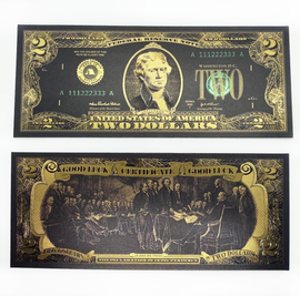 "Lucky Black & Gold $2 Collectible ""Good Luck"" Bill"