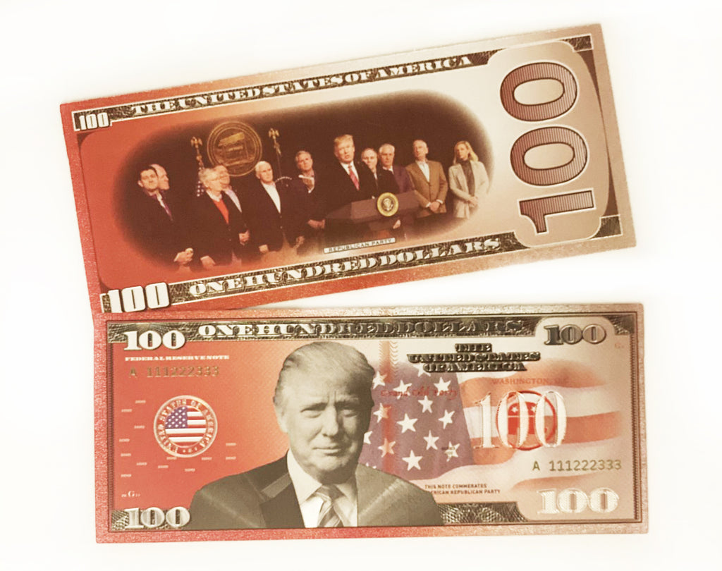 Donald Trump Authentic Republican Red Commemorative $100 Bank Note