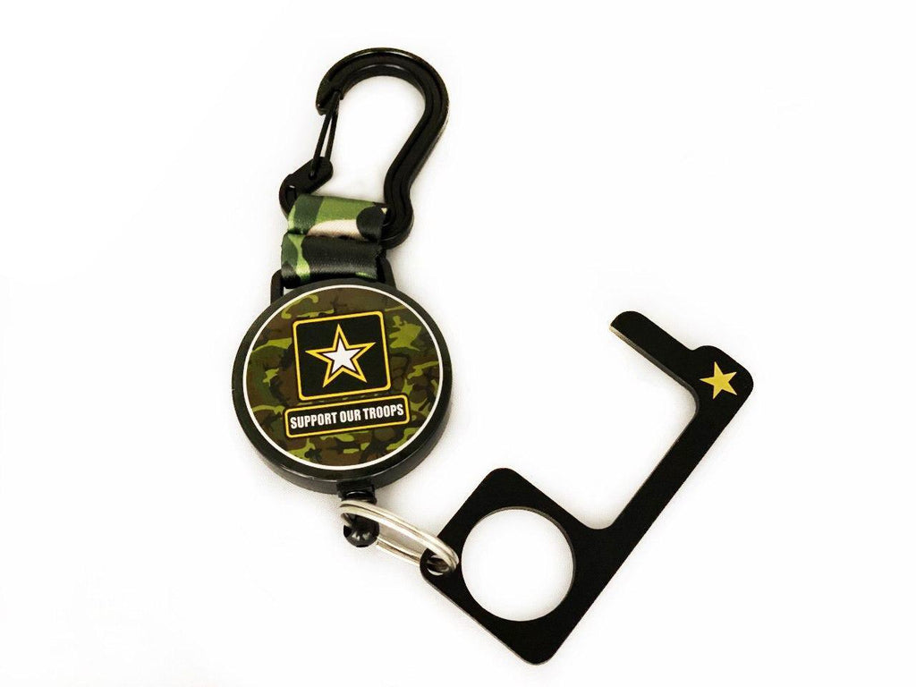 Support Our Troops Retractable Keychain Carabiner with GERM FREE Door Opener & Stylus
