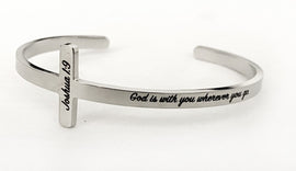 "Joshua 1:9 ""God is With You Wherever You Go"" Silver Bracelet"
