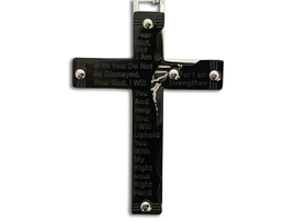 Isaiah 41:10 Silver Chain With Black Prayer Cross Necklace