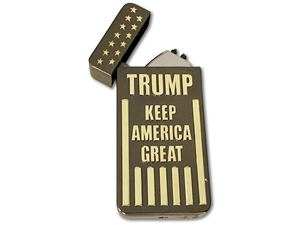 Trump 'Keep America Great' Gunmetal & Gold Windproof Electric Rechargeable Lighter