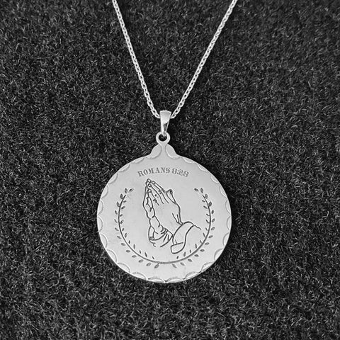 Romans 8:28 Sterling Silver Prayer Necklace