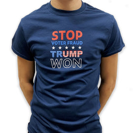 """Stop Voter Fraud, Trump Won"" MEN & WOMEN Navy T-shirt"